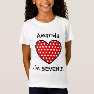 Camiseta 7o Coração vermelho W03B das bolinhas do