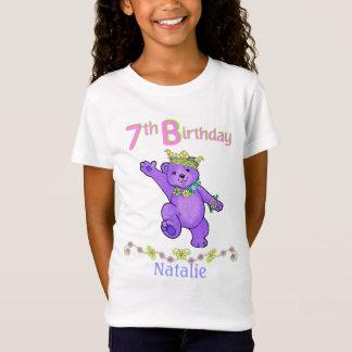 Camiseta 7o Princesa do urso do aniversário, nome feito sob