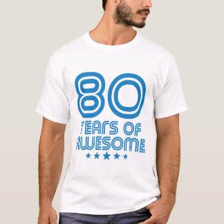 Camiseta 80 anos de aniversário impressionante do 80