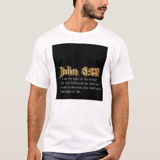 Camiseta 8:12 de John - deixe seu brilho claro para Jesus
