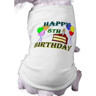 Camiseta 8o aniversário feliz com bolo, balões e vela