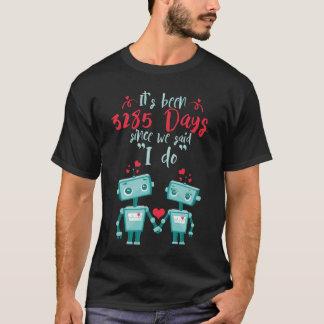 Camiseta 9o Presentes do aniversário de casamento