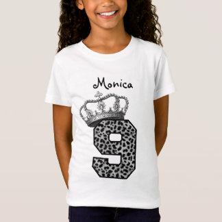 Camiseta 9o Princesa Coroa do aniversário e leopardo de