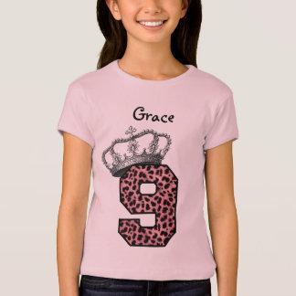 Camiseta 9o Princesa Coroa e leopardo cor-de-rosa V08 do