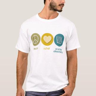 Camiseta A administração do sistema do amor da paz