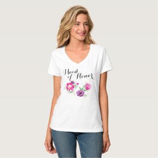 Camiseta A aguarela da madrinha de casamento floresce T