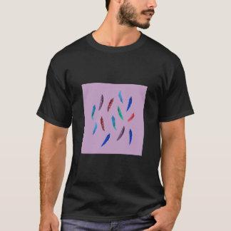 Camiseta A aguarela empluma-se o t-shirt escuro básico dos