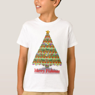 Camiseta A árvore de Natal dos peixes do recife de corais