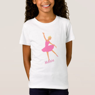 Camiseta A bailarina no tutu cor-de-rosa adiciona o nome