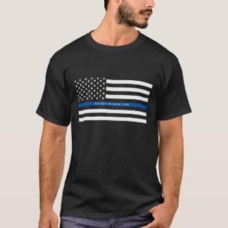 Camiseta A bandeira americana fina de Blue Line da polícia
