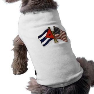 Camiseta A bandeira cubana e a bandeira americana