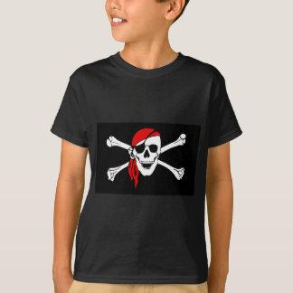 Camiseta A bandeira de pirata desossa o símbolo do perigo
