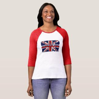 Camiseta A bandeira de Reino Unido colore a senhora