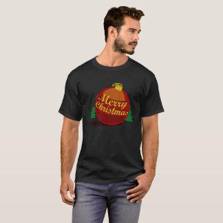 Camiseta A bola da versão do preto do Natal