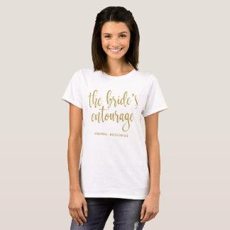 Camiseta A caligrafia do brilho do ouro do séquito da noiva