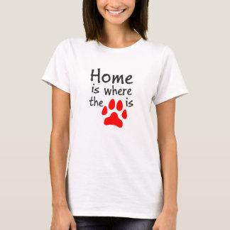 Camiseta A casa é o lugar onde o impressão da pata está