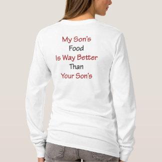 Camiseta A comida do meu filho é maneira melhor do que seu