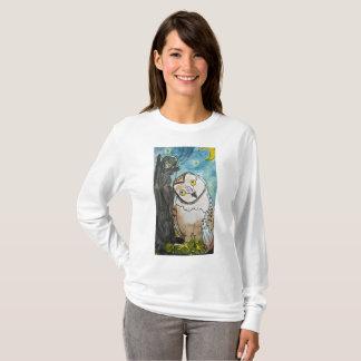 Camiseta A coruja e o gato do bichano