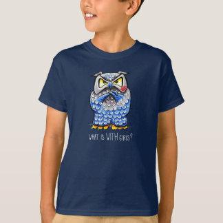 Camiseta A coruja mal-humorada beijou o que é com meninas