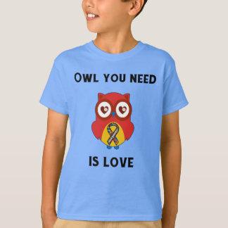 Camiseta A coruja que você precisa é amor, consciência do