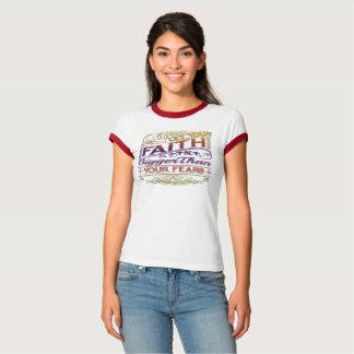 Camiseta A fé seja mais grande do que o t-shirt do Raglan