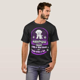 Camiseta A felicidade começa o cão maltês da cauda molhada