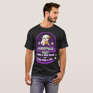 Camiseta A felicidade começa o cão molhado de Havanese da