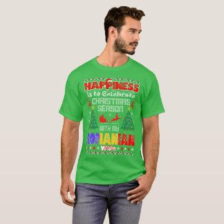 Camiseta A felicidade comemora a esposa romena do Natal