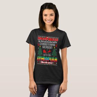 Camiseta A felicidade comemora o marido etíope do Natal