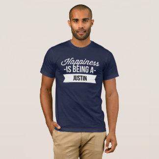 Camiseta A felicidade está sendo um Justin