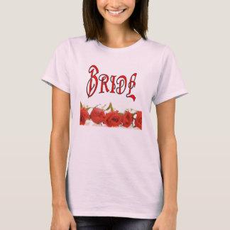 Camiseta A fileira da noiva (1) dos rosas
