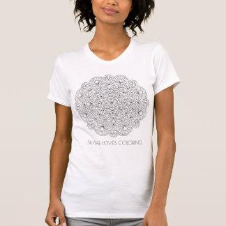 Camiseta A forma da coloração do adulto da mandala 010617
