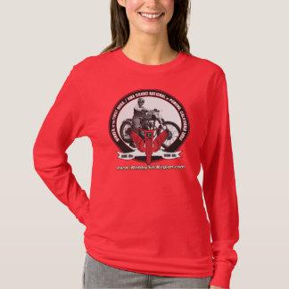 Camiseta A foto Sleeved longa vermelha T das senhoras