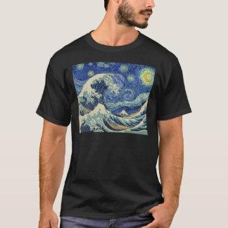 Camiseta A grande onda fora de Kanagawa - a noite estrelado
