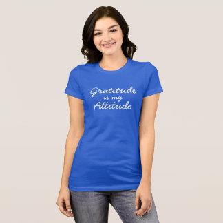 Camiseta A gratitude é minhas mulheres da atitude azuis