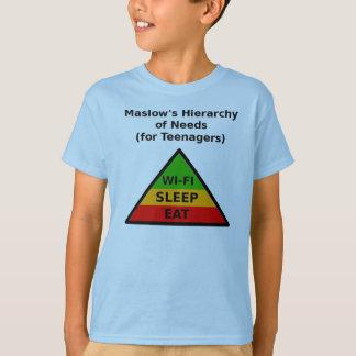 Camiseta A hierarquia de Maslow das necessidades (para