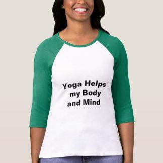 Camiseta A ioga ajuda meu t-shirt do Raglan do corpo e da