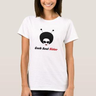 Camiseta A irmã da alma do geek com palavras consola o T