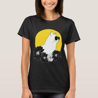 Camiseta A lápis desenho do gato com sunglass, sol e flores