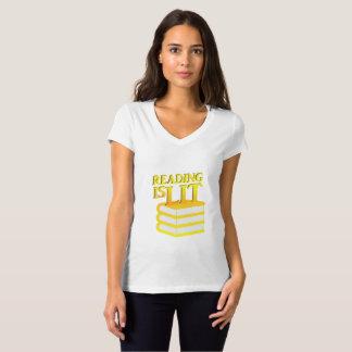 Camiseta A leitura é presente engraçado da instrução do Lit