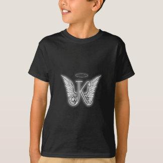 Camiseta A letra inicial do alfabeto K do anjo voa o halo
