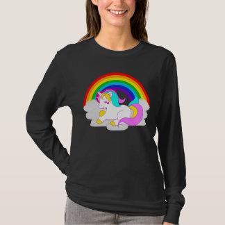 Camiseta A luva longa das mulheres brancas do arco-íris da