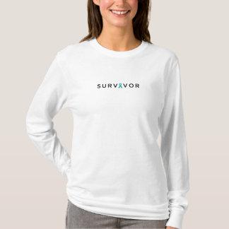 Camiseta A luva longa das mulheres do SOBREVIVENTE