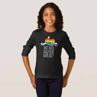 Camiseta A luva longa escura da menina do ódio do amor não