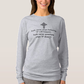 Camiseta A luva nunca longa w/Grey da fé alargou-se cruz