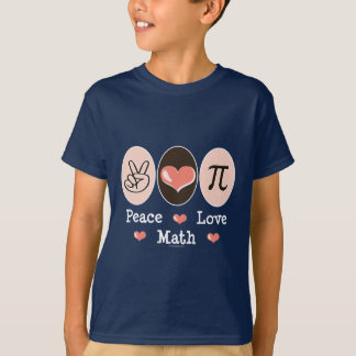 Camiseta A matemática do amor da paz caçoa o t-shirt