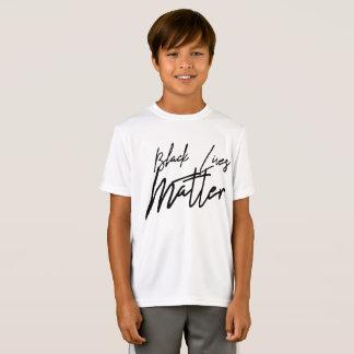Camiseta A matéria preta escrita à mão das vidas caçoa o