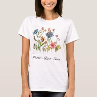 Camiseta A melhor mamã do mundo floresce o t-shirt da arte