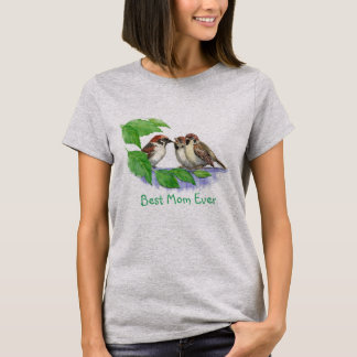 Camiseta A melhor mamã nunca ou família de pássaro feita