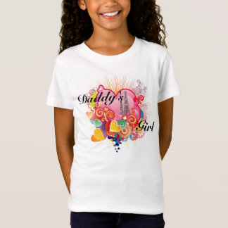 Camiseta A menina do pai (corações & equipamentos)